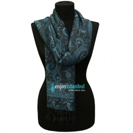 Turkish Shawl - Silky Viscose Blue and Black