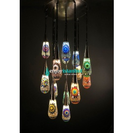 Special Handmade Mosaic Chandelier with 13 Lamps