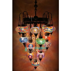 Mosaic Chandelier with 21 Globes