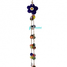 Handmade Evil Eye  Wall Hanging – 41 Protective Amulet Beads with Daisy