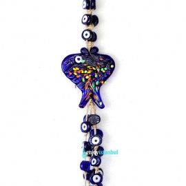 Handmade Evil Eye  Wall Hanging – 41 Protective Amulet Beads with Fish