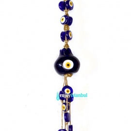 Handmade Evil Eye  Wall Hanging – 41 Protective Amulet Beads with Pomegranate
