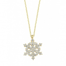 14K Gold Snowflake Necklace