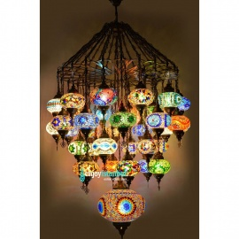 Mosaic Chandelier with 37 Globes - FREE SHIPPING