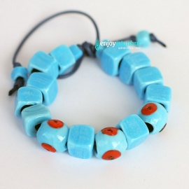 Turkish Evil Eye  Bracelet with sky-blue square beads