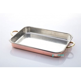 COPPER RECTANGULAR OVEN TRAY WITH 2 HANDLES